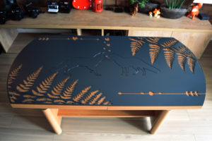 Stół - obraz ze stali - listy owalny